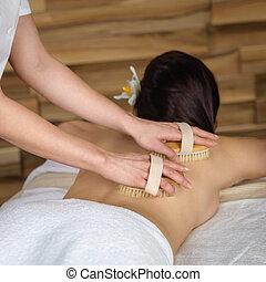 centro, costas, luxo, spa, escova massagem