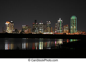 centro, dallas, texas, notte