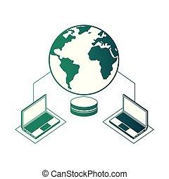 centro, database, laptops, collegamento, sicurezza, dati, rete