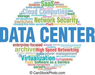centro dati, esso, tecnologia, parola, nuvola, etichette