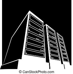 centro dati, nero