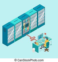 centro de datos, y, hosting., red, internet, database.