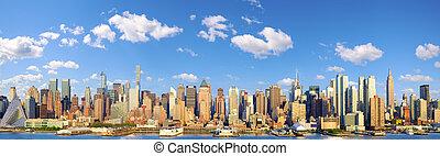 centro de la ciudad, contorno, manhattan, panorama