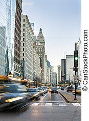 centro de la ciudad, estados unidos de américa, chicago, illinois, tráfico