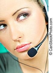 centro de la llamada, agente