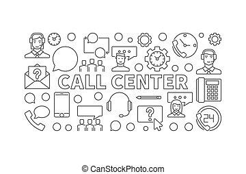 centro de la llamada, contorno, ilustración, -, vector, moderno, bandera