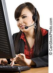 centro de la llamada, operador