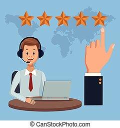 centro de la llamada, y, servicio de cliente