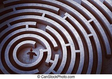 centro, di, uno, labirinto
