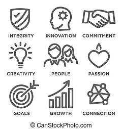 centro, ditta, valori, contorno, icone