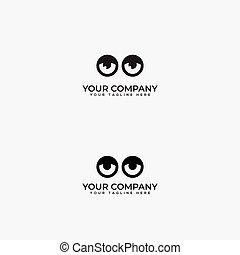 centro, dois, logotipo, óptico, olhos, logotipo