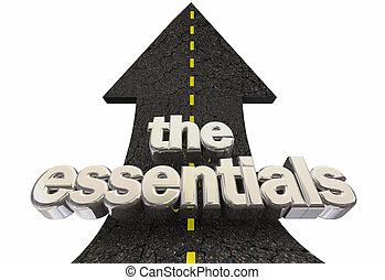 centro, elementi, essentials, su, illustrazione, principi, freccia, principale, parole, strada, 3d