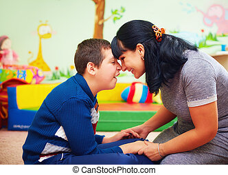 centro, ella, incapacidad, soulful, hijo, moment., amado, ...