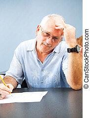centro envejecido, -, estudiante, frustrado