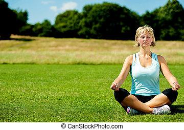 centro envejecido, mujer, hacer, meditación