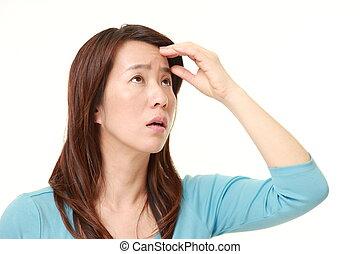 centro envejecido, mujer japonesa, tiene, perdido, ella,...