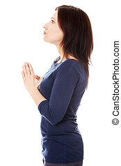 centro envejecido, mujer rezar