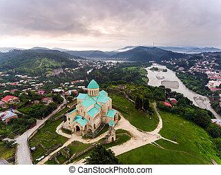 centro, georgia, aéreo, kutaisi, bagrati, catedral, vista