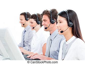 centro, gioioso, lavorativo, chiamata, agenti, assistenza clienti