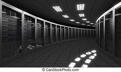 centro, grande, moderno, interpretazione, dati, servers., 3d