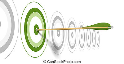 centro, grigio, colpire, freccia, sfondo verde, obiettivi,...
