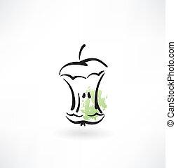 centro, grunge, mela, icona
