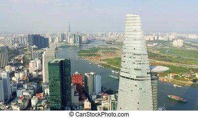 centro, -, hochiminh, empresa / negocio, panorama, bitexco, otro, vietnam, aéreo, downtown., abril, vista, edificios, 2020: