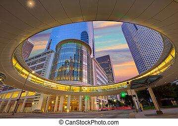 centro houston cidade, pôr do sol, arranha-céus, texas