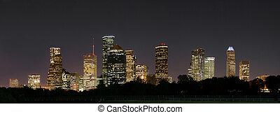 centro houston cidade, pano, noturna
