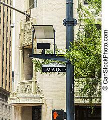 centro houston cidade, rua, principal, sinal