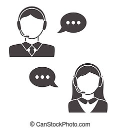 centro, icone, chiamata, avatar, femmina, maschio