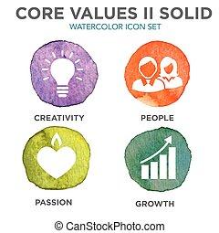 centro, icone, solido, ditta, siti web, valori, infographics, o