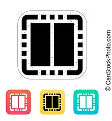 centro, illustration., vettore, doppio, icon., cpu