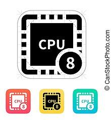 centro, illustration., vettore, otto, icon., cpu