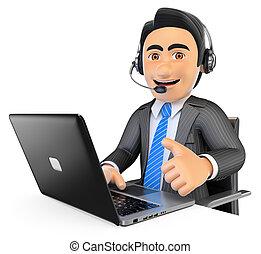 centro, lavorativo, su, chiamata, impiegato, 3d, pollice