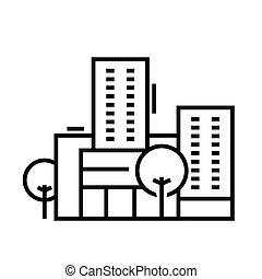centro, linear, sinal, esboço, educação, linha, ícone, ilustração, símbolo., vetorial, conceito