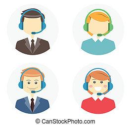 centro, llamada, operador, iconos