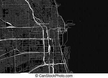 centro, mappa, chicago, u.s.a, nero