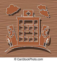 centro, medico, ospedale, disegno