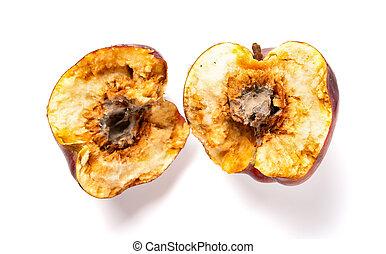 centro, mela, cima, marcio, troppo maturo, fondo, bianco, vista