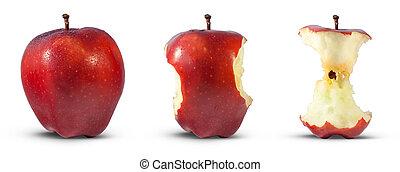 centro, mela, mangiato, rosso