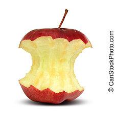 centro, mela, rosso