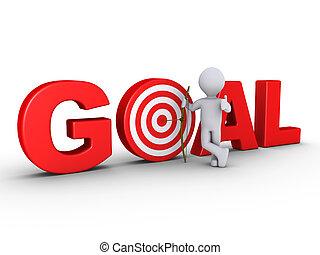 centro, meta, mostrando, -, arqueiro, seta, feliz, alvo