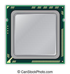 centro, multi, moderno, cpu, computer, processore