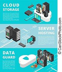 centro, negócio, base dados, protection., servidor, telecommunications., equipamento, vetorial, bandeiras, armazenamento, dados, rede