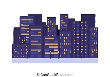 centro, nighttime., casa, vetorial, cidade, cidade, lighting., rua, janelas, experiência., edifícios, branca, noturna, exterior., multi-storey, isolado, brilhar, noite, illustration., negócio, casas, apartamento