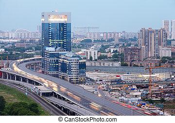 centro, norte, tercero, empresa / negocio, panorama, moderno, -, moscú, ring., nuevo, torre, rusia, transporte