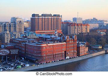 centro, ocaso, foto, hermoso, hotel, fábrica
