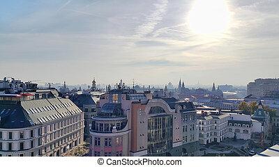 centro, panorama, moscú, histórico, capital, rusia