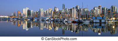 centro, panoramico, vancouver, notte